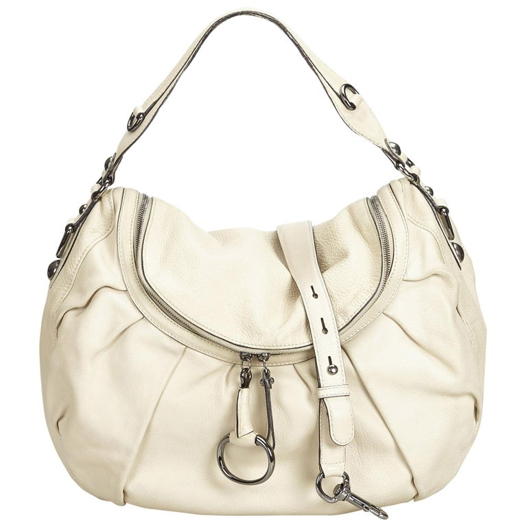 Gucci White Ivory Leather Icon Bit Satchel Italy For Sale