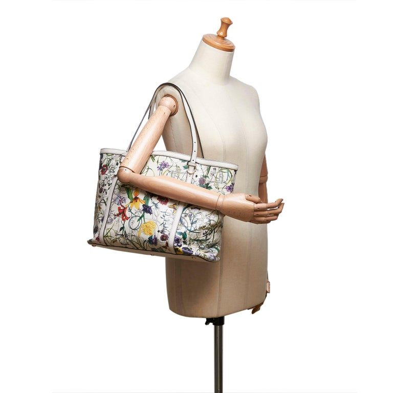 Gucci White Ivory with Multi  Leather Flora Nice Tote Italy w/ Dust Bag 6