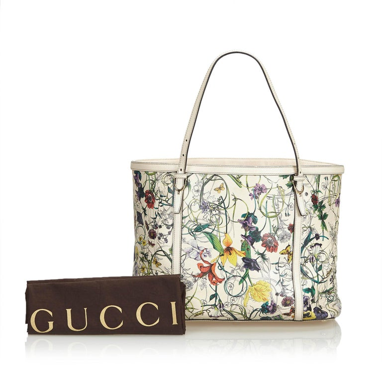 Gucci White Ivory with Multi  Leather Flora Nice Tote Italy w/ Dust Bag 7