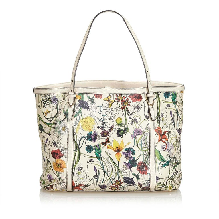 Gucci White Ivory with Multi  Leather Flora Nice Tote Italy w/ Dust Bag In Good Condition In Orlando, FL