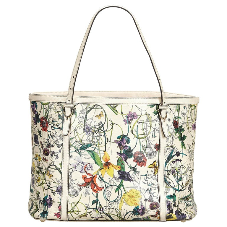 07c4db05470730 Gucci White Ivory with Multi Leather Flora Nice Tote Italy w/ Dust Bag For  Sale