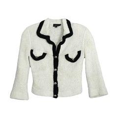 Gucci White Knit 3/4 Sleeve Sweater w/ Black Trim sz M