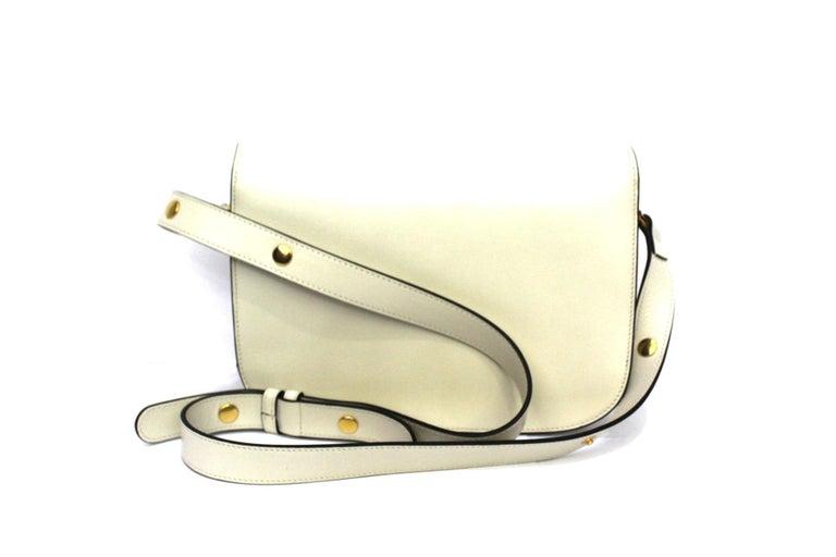 Gucci White Leather 1955 Horsebit Bag In New Condition For Sale In Torre Del Greco, IT