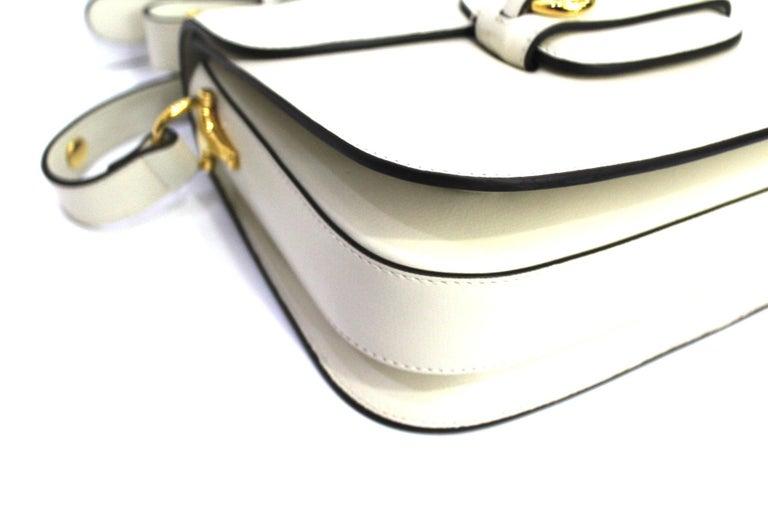 Women's Gucci White Leather 1955 Horsebit Bag For Sale
