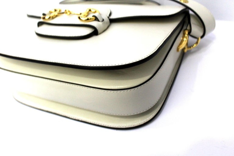 Gucci White Leather 1955 Horsebit Bag For Sale 1