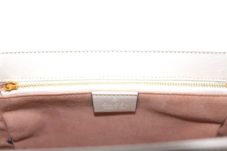 Gucci White Leather 1955 Horsebit Bag For Sale 2