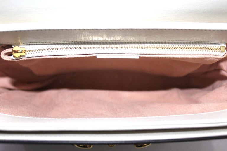 Gucci White Leather 1955 Horsebit Bag For Sale 3
