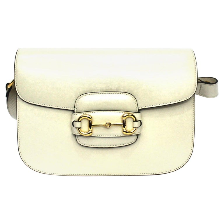 Gucci White Leather 1955 Horsebit Bag For Sale