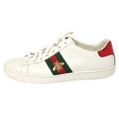 Gucci White Leather Ace Bee Sneakers Size 38.5