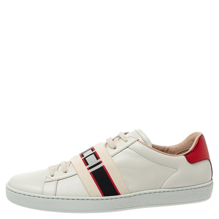 Gucci White Leather Ace Low Top Sneakers Size 39.5 For Sale 1