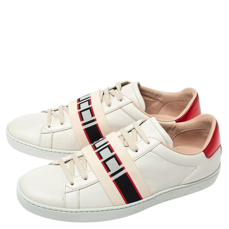 Gucci White Leather Ace Low Top Sneakers Size 39.5 For Sale 2