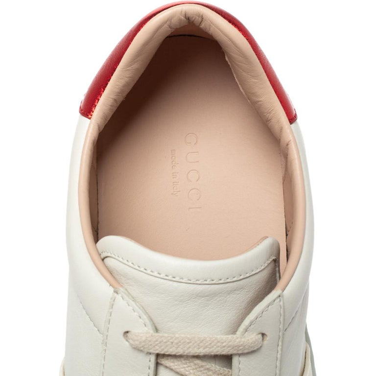 Gucci White Leather Ace Low Top Sneakers Size 39.5 For Sale 3