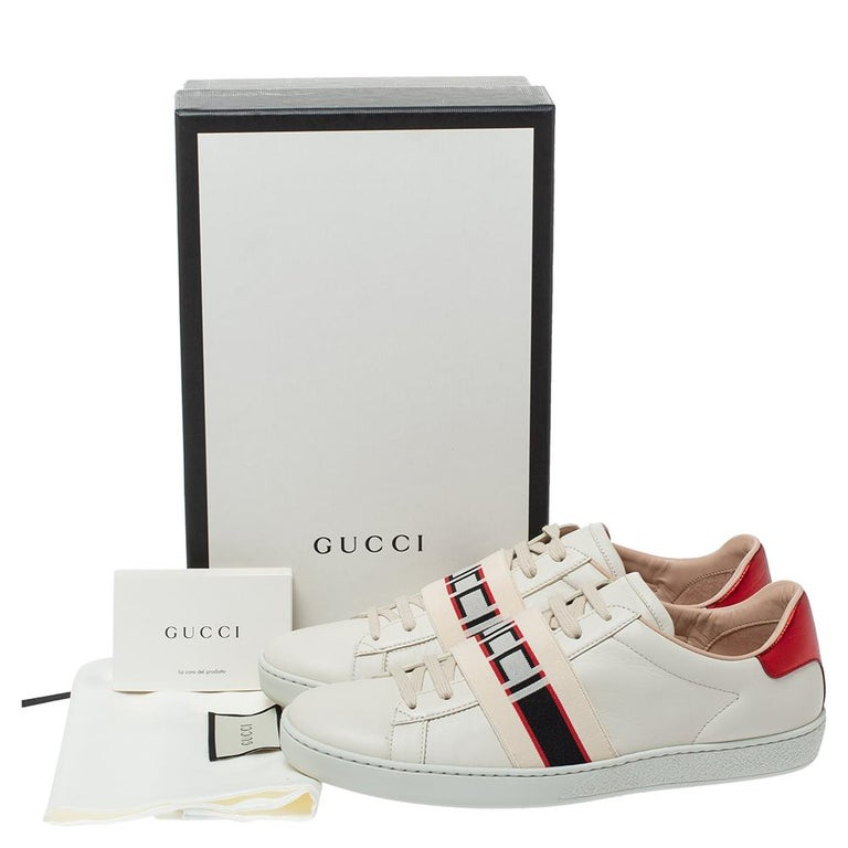 Gucci White Leather Ace Low Top Sneakers Size 39.5 For Sale 4