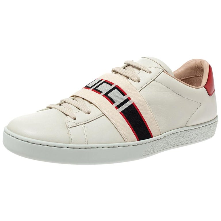 Gucci White Leather Ace Low Top Sneakers Size 39.5 For Sale