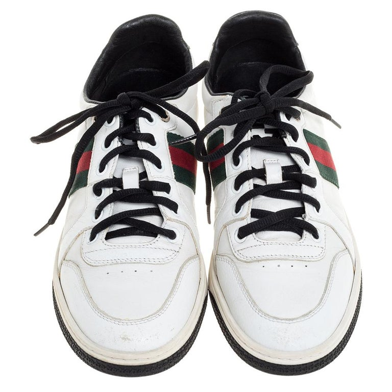Gray Gucci White Leather Ace Web Detail Low Top Sneakers Size 39 For Sale