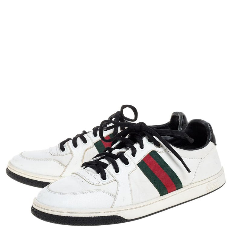Gucci White Leather Ace Web Detail Low Top Sneakers Size 39 In Good Condition For Sale In Dubai, Al Qouz 2