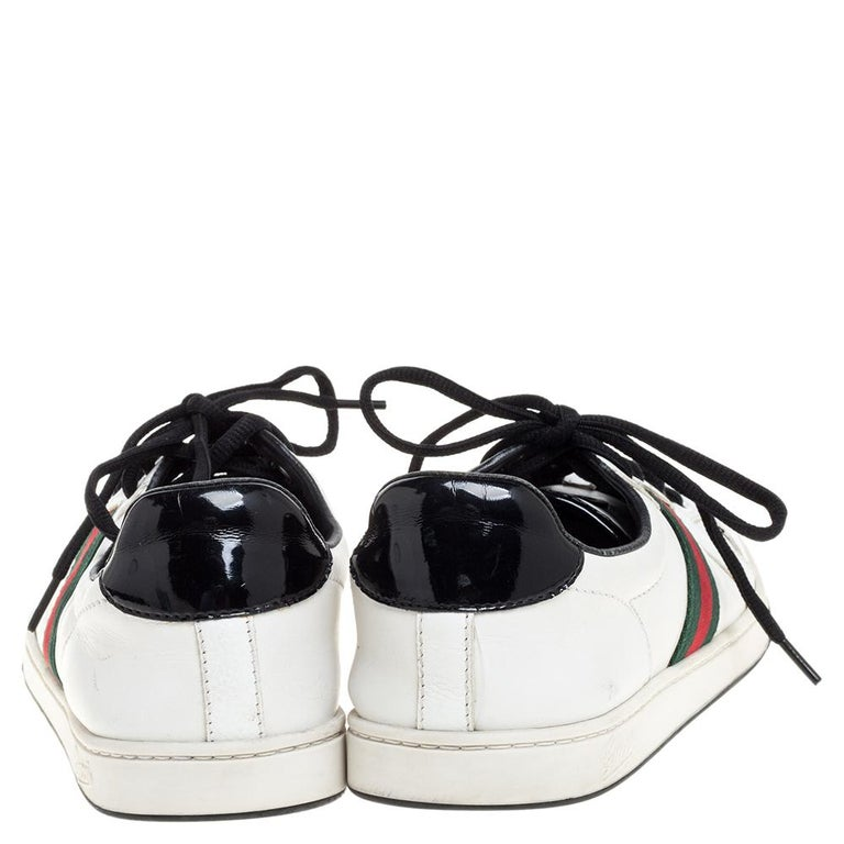 Gucci White Leather Ace Web Detail Low Top Sneakers Size 39 For Sale 1