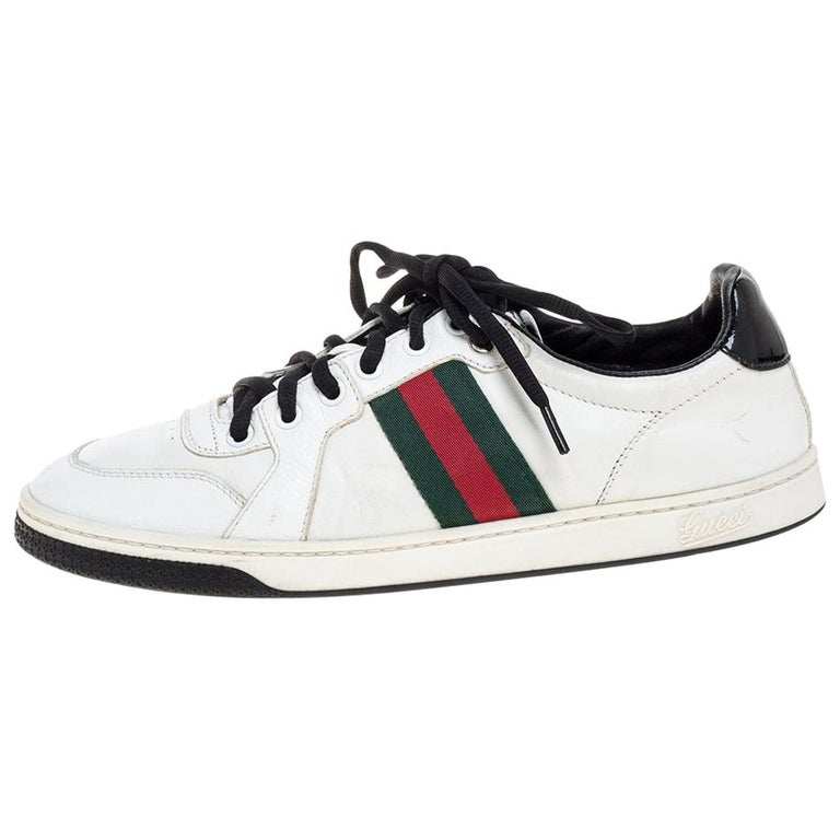 Gucci White Leather Ace Web Detail Low Top Sneakers Size 39 For Sale