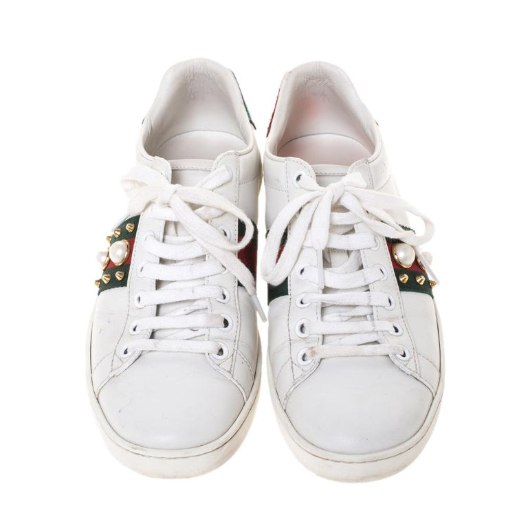 Gray Gucci White Leather Ace Web Embellished Low Top Sneakers Size 37 For Sale