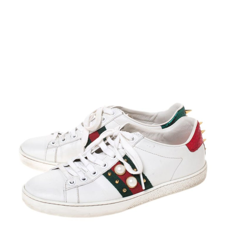 Women's Gucci White Leather Ace Web Embellished Low Top Sneakers Size 37 For Sale