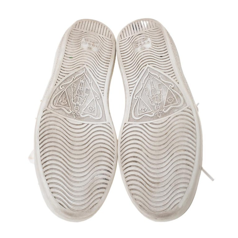 Gucci White Leather Ace Web Embellished Low Top Sneakers Size 37 For Sale 2