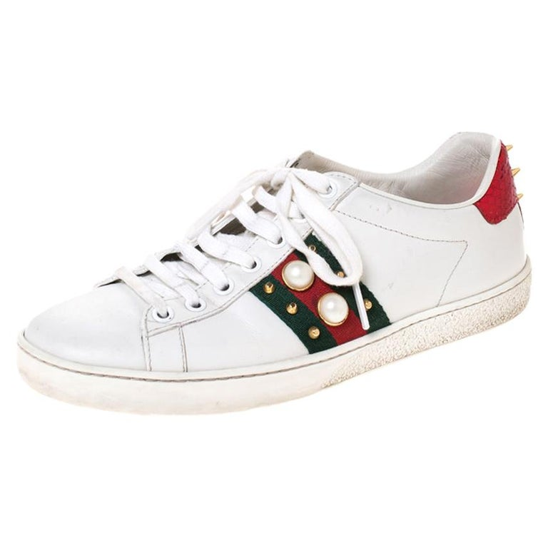 Gucci White Leather Ace Web Embellished Low Top Sneakers Size 37 For Sale