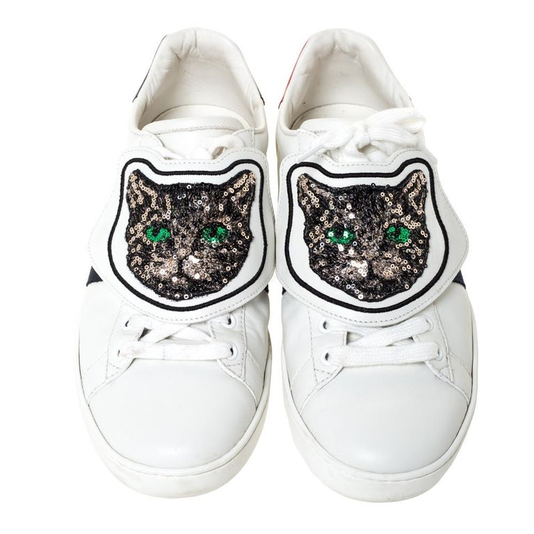 Gray Gucci White Leather Ace Web Low Top Sneakers with Removable Patch Size 41 For Sale