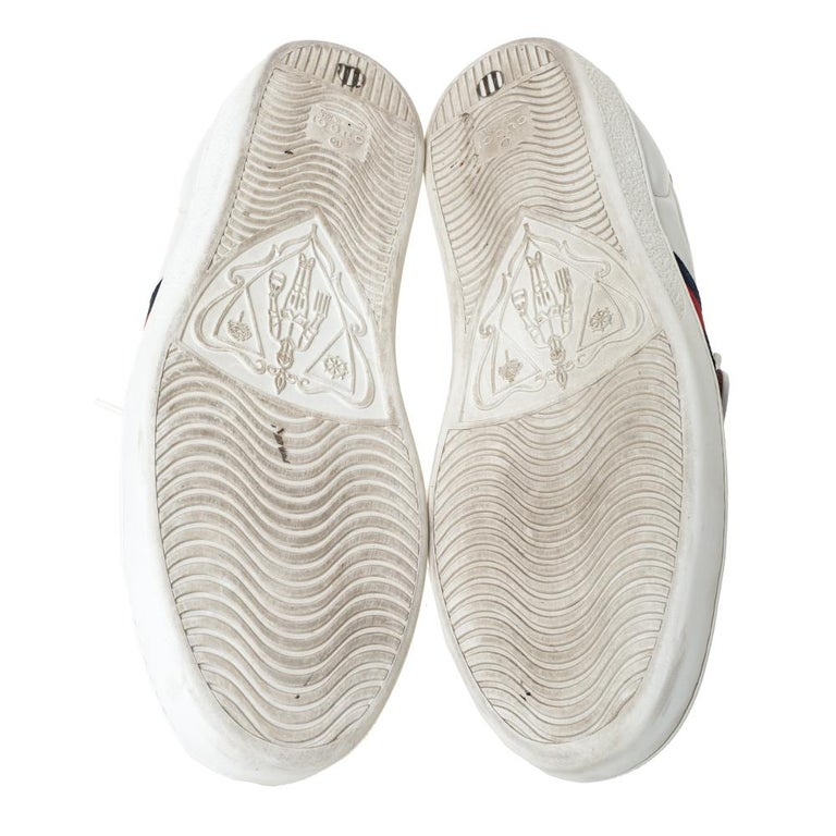Men's Gucci White Leather Ace Web Low Top Sneakers with Removable Patch Size 41 For Sale