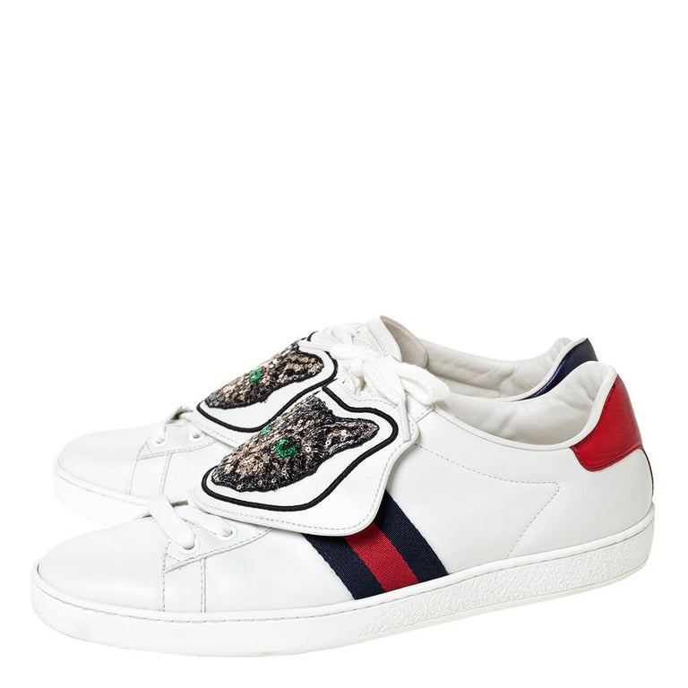 Gucci White Leather Ace Web Low Top Sneakers with Removable Patch Size 41 For Sale 2