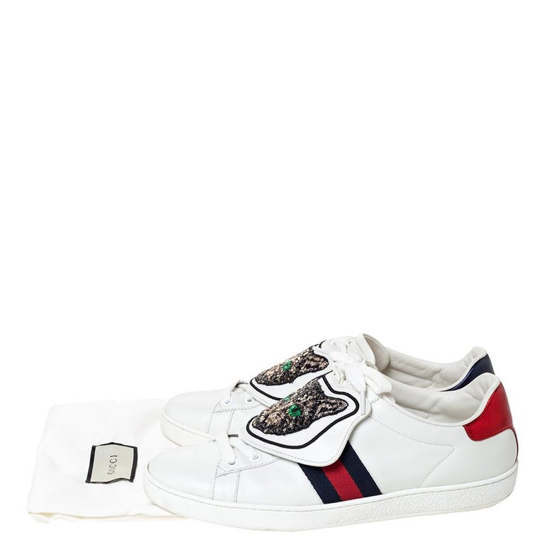 Gucci White Leather Ace Web Low Top Sneakers with Removable Patch Size 41 For Sale 3