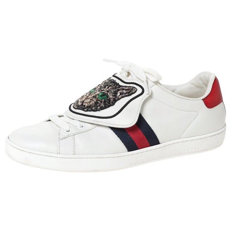 Gucci White Leather Ace Web Low Top Sneakers with Removable Patch Size 41 For Sale