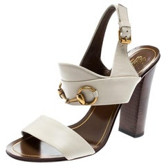 Gucci White Leather Alyssa Horsebit Ankle Strap Sandals Size 36.5
