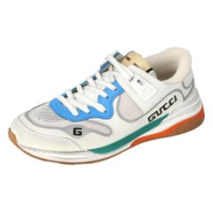 Gucci White Leather and Fabric Ultrapace Low-Top Sneakers Size 38.5