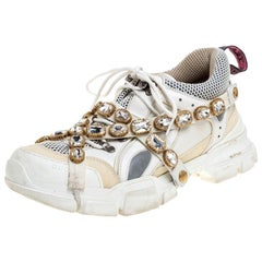 Gucci White Leather and Mesh Flashtrek Removable Crystals Sneakers Size 42