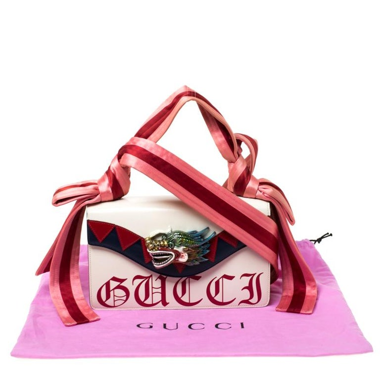 Gucci White Leather and Satin Naga Dragon Head Shoulder Bag For Sale 8