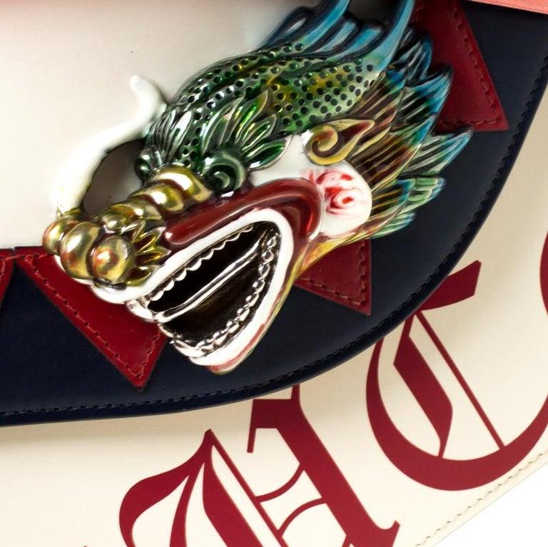 Gucci White Leather and Satin Naga Dragon Head Shoulder Bag For Sale 2