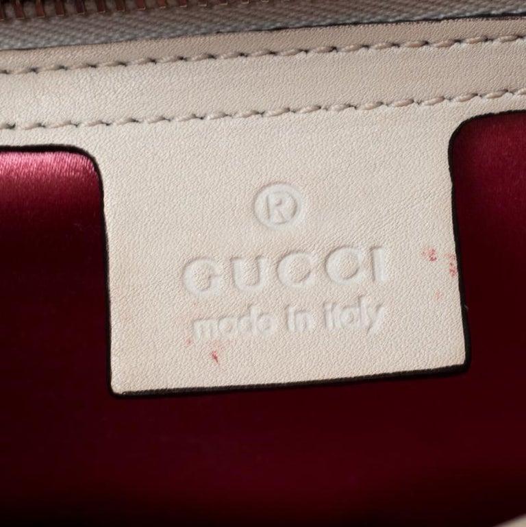 Gucci White Leather and Satin Naga Dragon Head Shoulder Bag For Sale 4