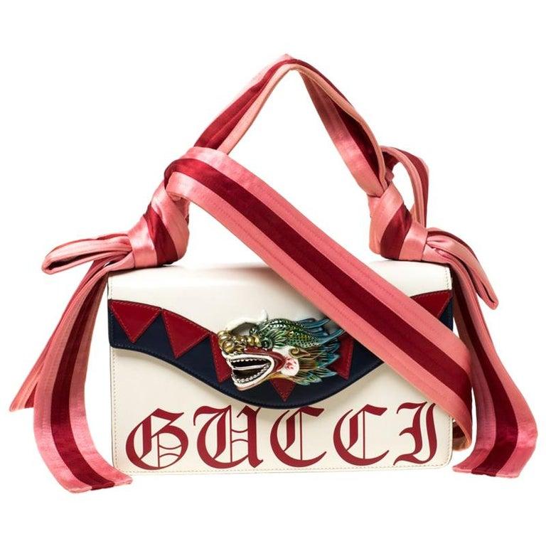 Gucci White Leather and Satin Naga Dragon Head Shoulder Bag For Sale