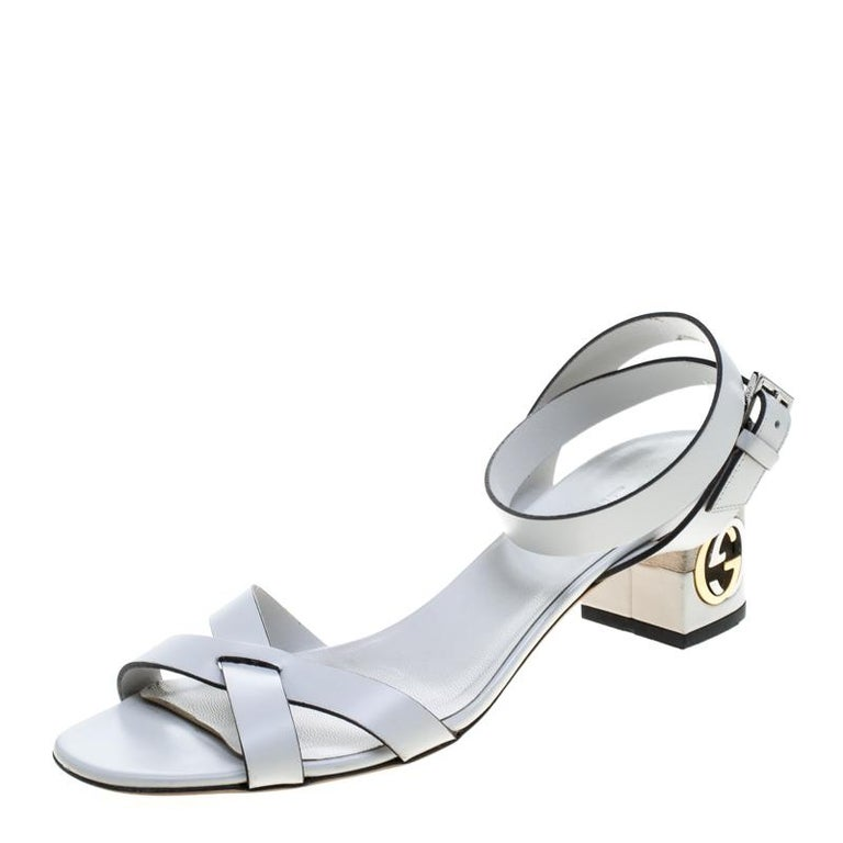 ef567fc7da4a Gucci White Leather Ankle Strap GG Logo Heel Sandals Size 37.5 For Sale