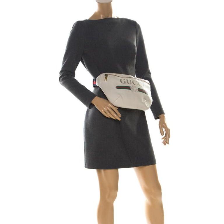 Gucci White Leather Belt Bag In Good Condition In Dubai, Al Qouz 2