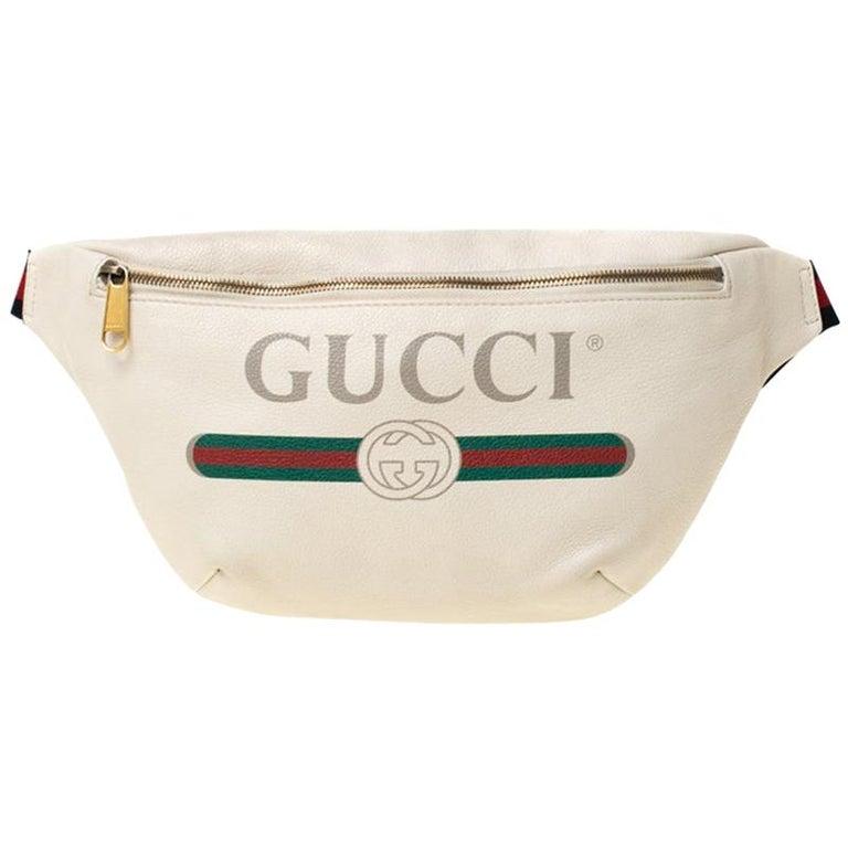 Gucci White Leather Belt Bag