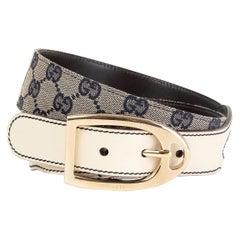 GUCCI white leather & blue GG Monogram canvas Belt 90