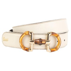 GUCCI white leather BMABOO BUCKLE Belt 85