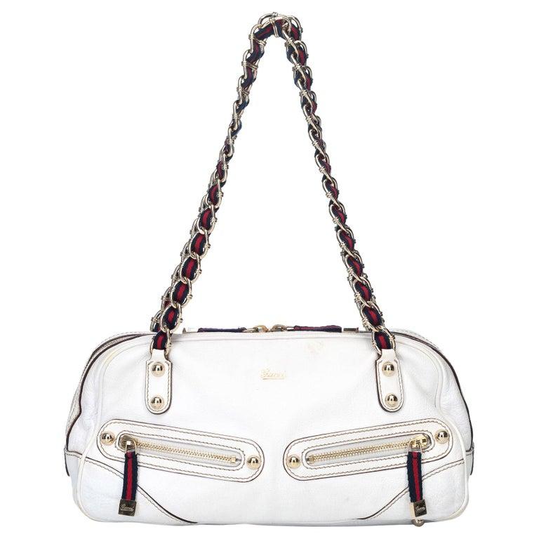 c9879c5ab671e7 Gucci White Leather Capri Shoulder Bag at 1stdibs