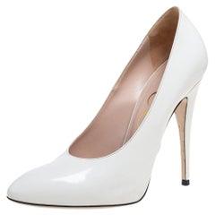 Gucci White Leather Elaisa Pumps Size 38