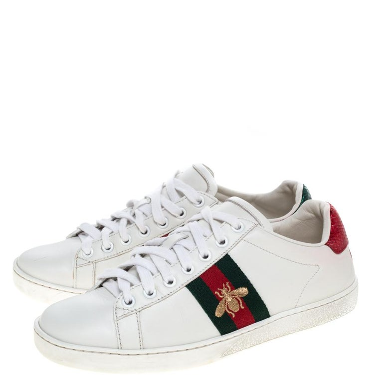 Women's Gucci White Leather Embroidered Bee Ace Low-Top Sneakers Size 37 For Sale