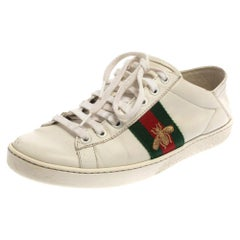 Gucci White Leather Embroidered Bee Ace Low Top Sneakers Size 37