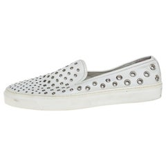 Gucci White Leather Eyelet Embellished Slip On Sneakers Size 38.5
