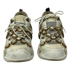 Gucci White Leather Flashtrek Sneakers