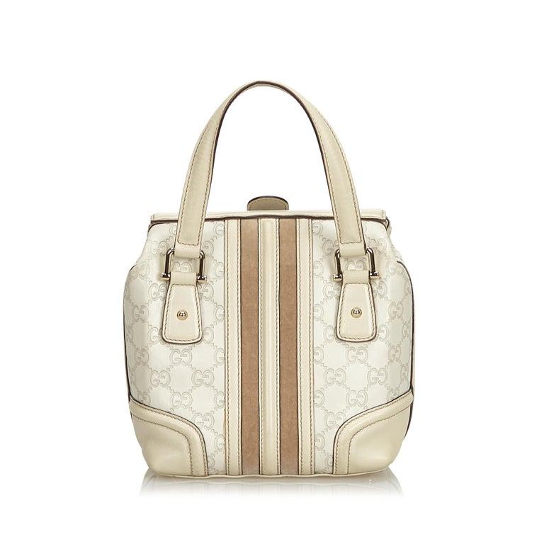 9674637e5a5 Gucci White Leather Guccissima Treasure Handbag In Good Condition For Sale  In Orlando